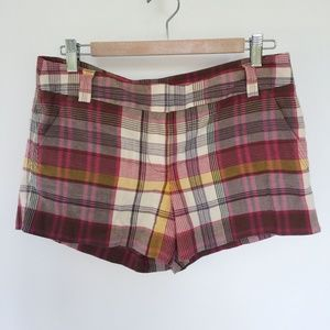 J.Crew Red Beige Pink Plaid City Fit Shorts 6 NEW